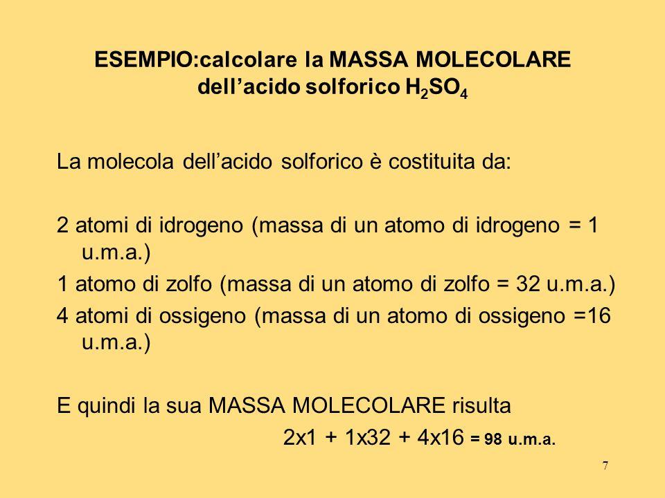 ESEMPIO:calcolare la MASSA MOLECOLARE dell'acido solforico H2SO4