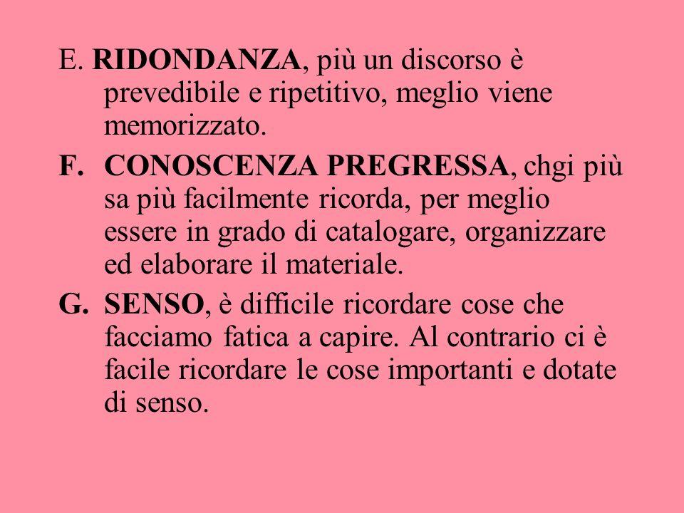 E. RIDONDANZA, più un discorso è prevedibile e ripetitivo, meglio viene memorizzato.