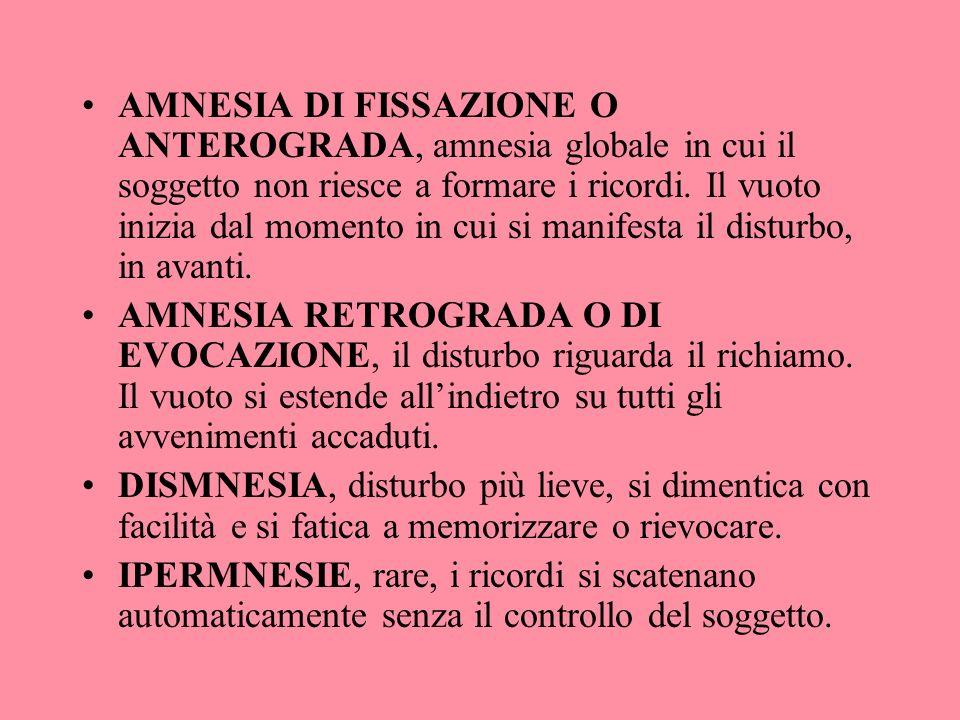 AMNESIA DI FISSAZIONE O ANTEROGRADA, amnesia globale in cui il soggetto non riesce a formare i ricordi. Il vuoto inizia dal momento in cui si manifesta il disturbo, in avanti.