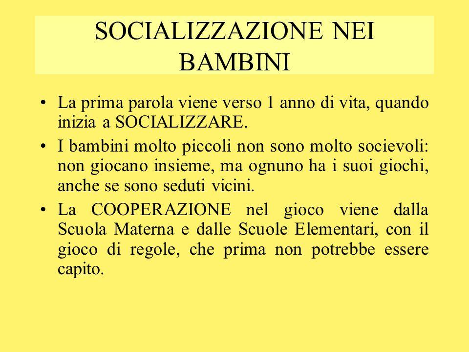 SOCIALIZZAZIONE NEI BAMBINI