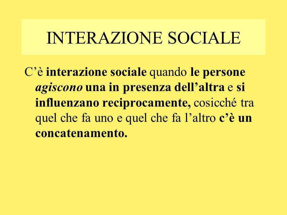 INTERAZIONE SOCIALE