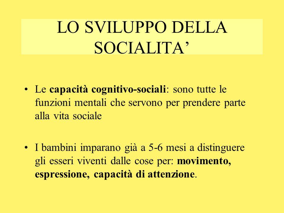 LO SVILUPPO DELLA SOCIALITA'