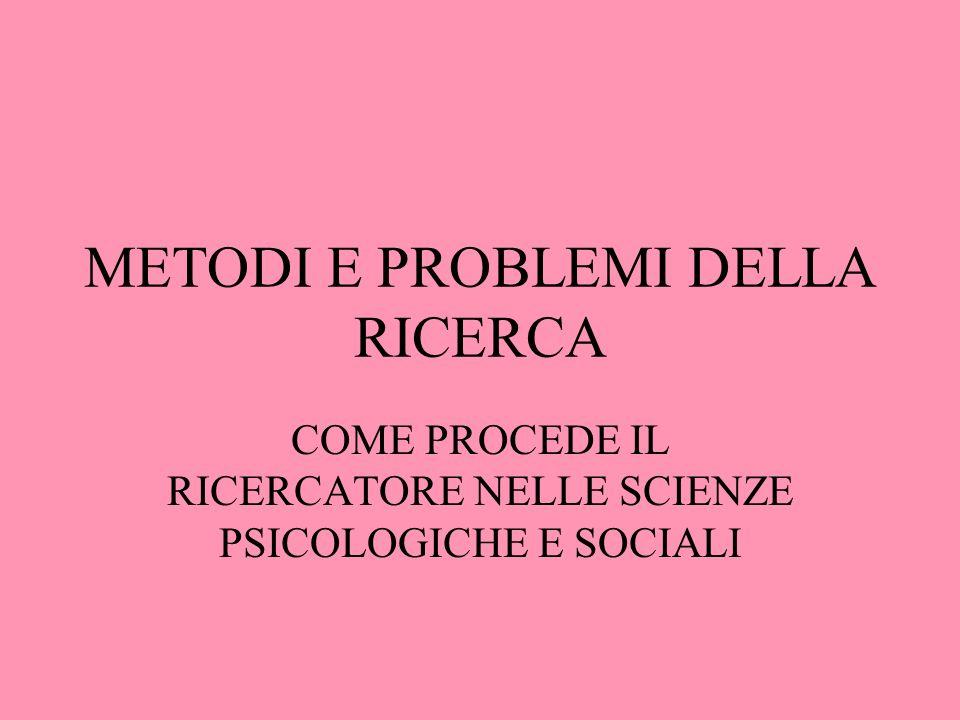 METODI E PROBLEMI DELLA RICERCA