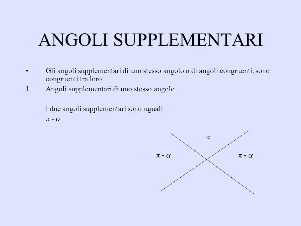 ANGOLI SUPPLEMENTARI Gli angoli supplementari di uno stesso angolo o di angoli congruenti, sono congruenti tra loro.