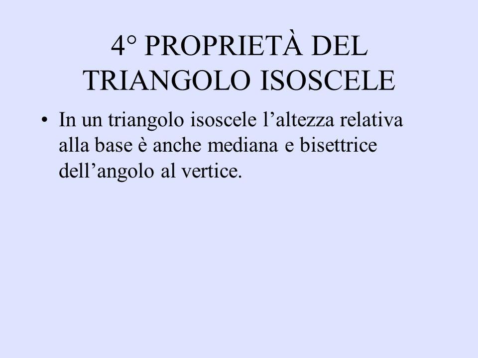 4° PROPRIETÀ DEL TRIANGOLO ISOSCELE