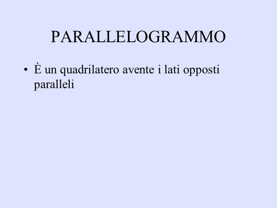 PARALLELOGRAMMO È un quadrilatero avente i lati opposti paralleli