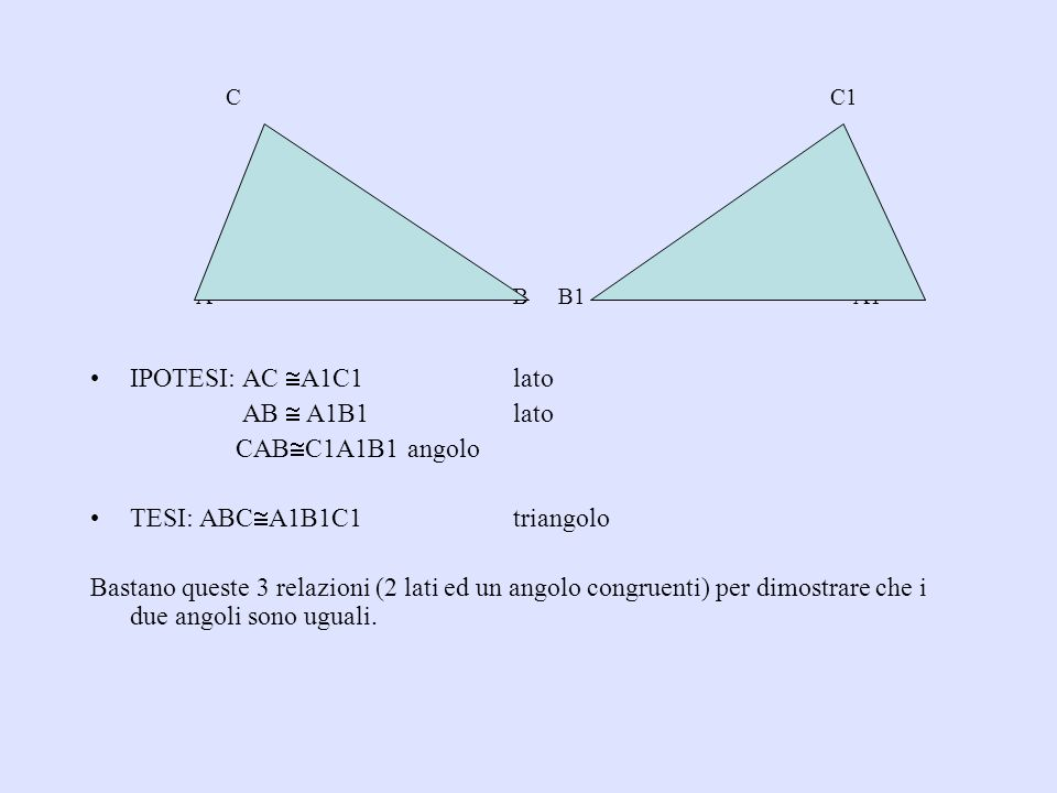 A B B1 A1 IPOTESI: AC A1C1 lato AB  A1B1 lato CABC1A1B1 angolo