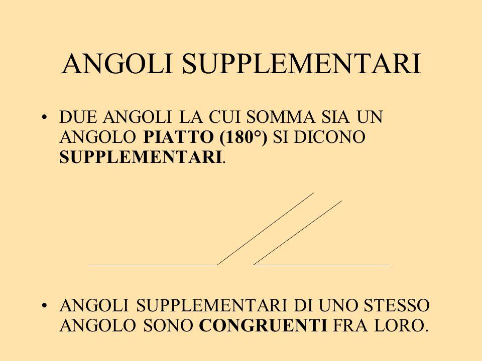 ANGOLI SUPPLEMENTARI DUE ANGOLI LA CUI SOMMA SIA UN ANGOLO PIATTO (180°) SI DICONO SUPPLEMENTARI.