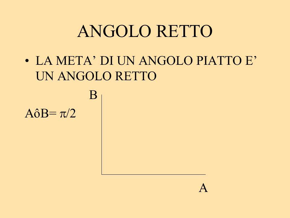 ANGOLO RETTO LA META' DI UN ANGOLO PIATTO E' UN ANGOLO RETTO B