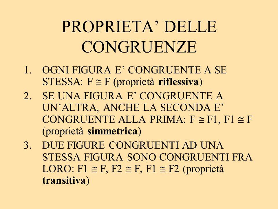 PROPRIETA' DELLE CONGRUENZE