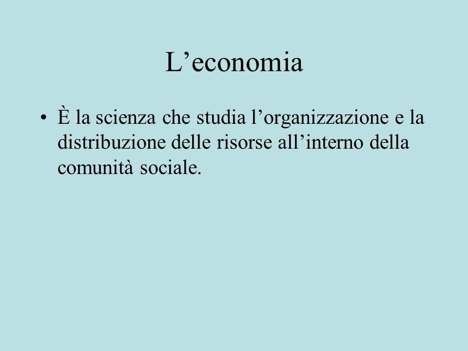 L'economiaÈ la scienza che studia l'organizzazione e la distribuzione delle risorse all'interno della comunità sociale.