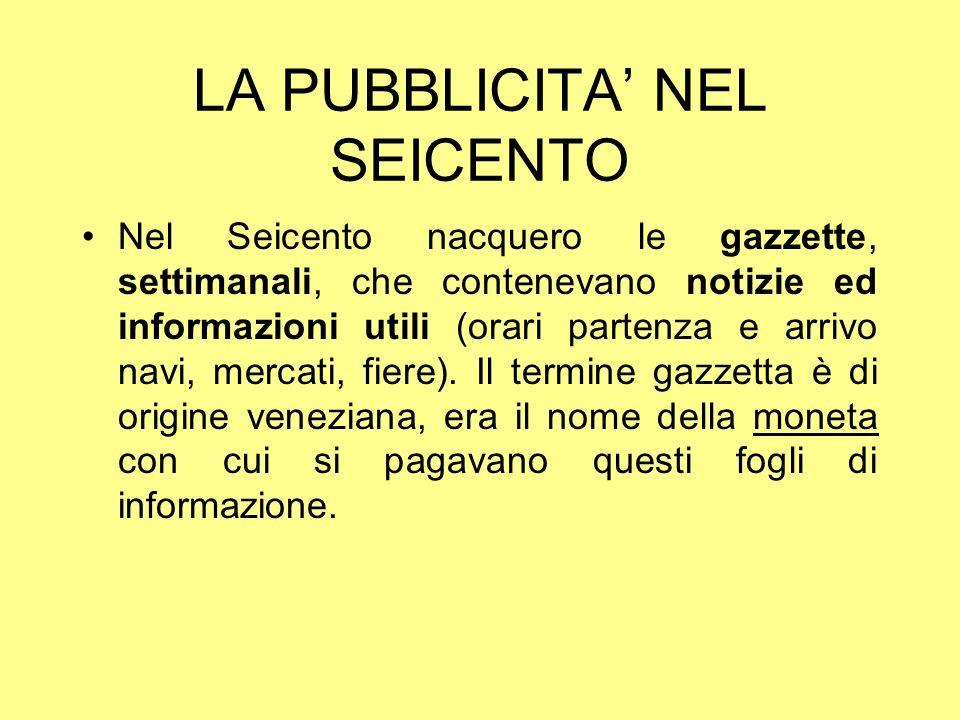 LA PUBBLICITA' NEL SEICENTO