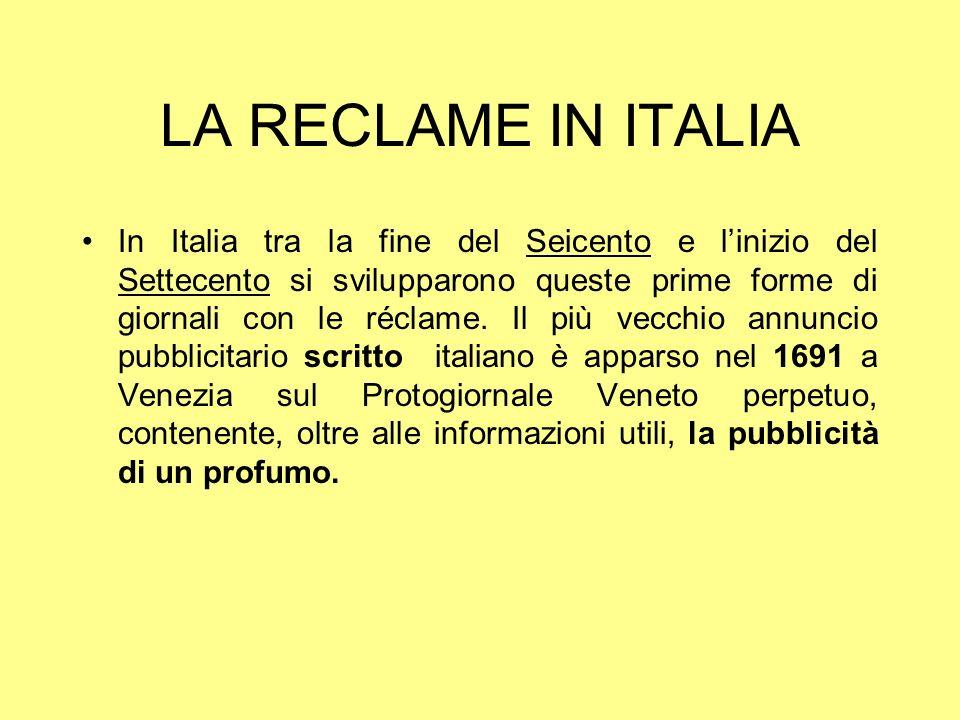 LA RECLAME IN ITALIA