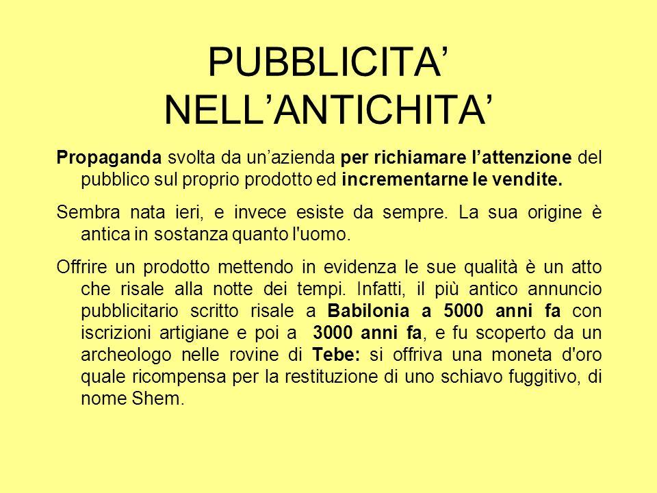 PUBBLICITA' NELL'ANTICHITA'