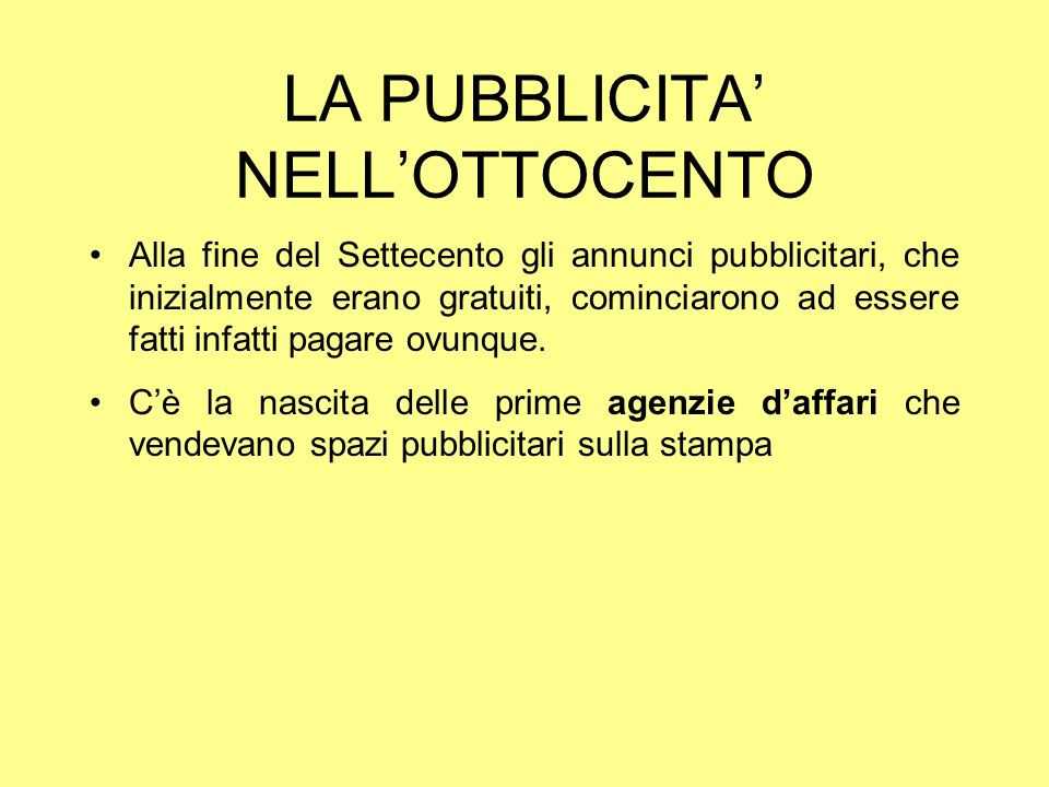 LA PUBBLICITA' NELL'OTTOCENTO