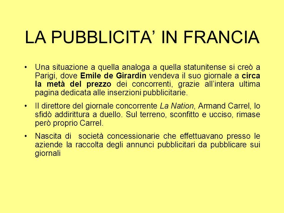 LA PUBBLICITA' IN FRANCIA