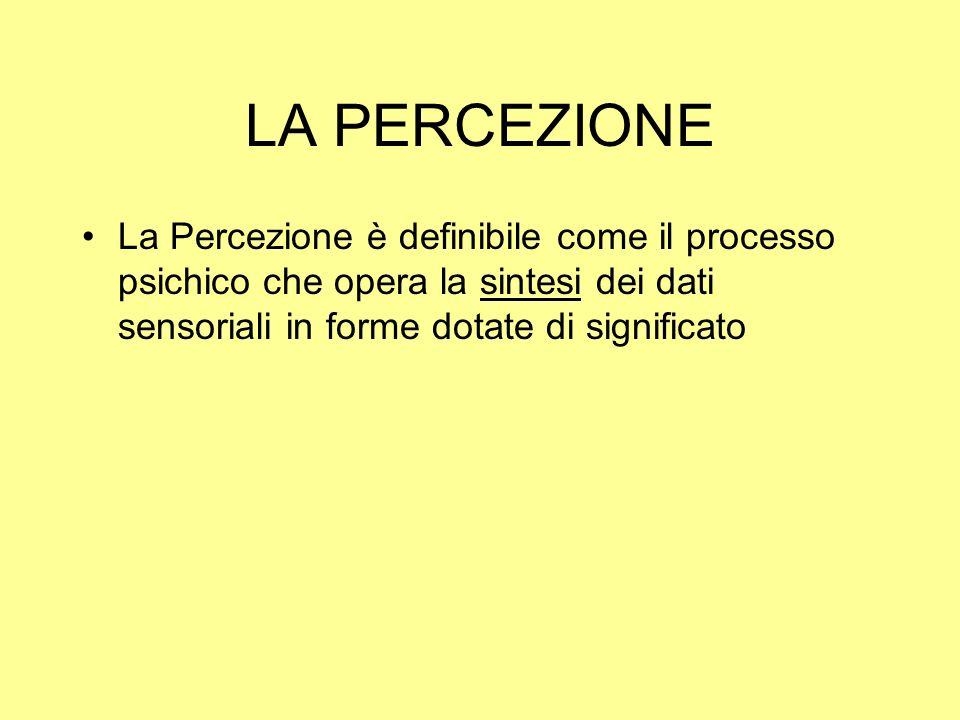 LA PERCEZIONE La Percezione è definibile come il processo psichico che opera la sintesi dei dati sensoriali in forme dotate di significato.