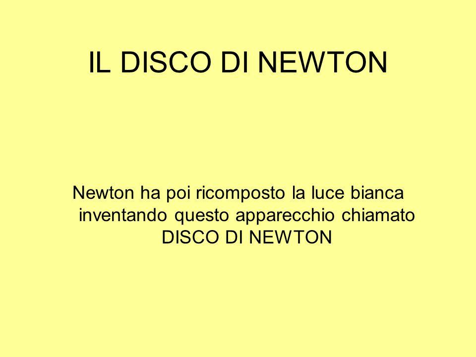 IL DISCO DI NEWTON Newton ha poi ricomposto la luce bianca inventando questo apparecchio chiamato DISCO DI NEWTON.