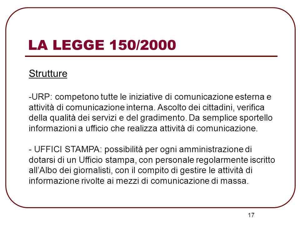 LA LEGGE 150/2000 Strutture.