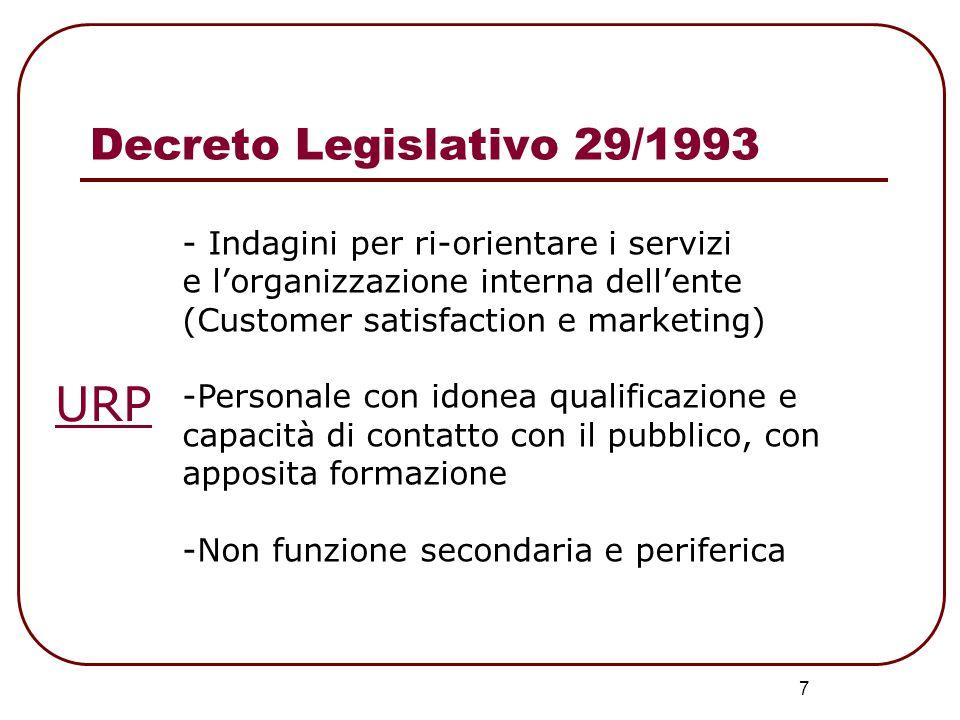 URP Decreto Legislativo 29/1993 - Indagini per ri-orientare i servizi