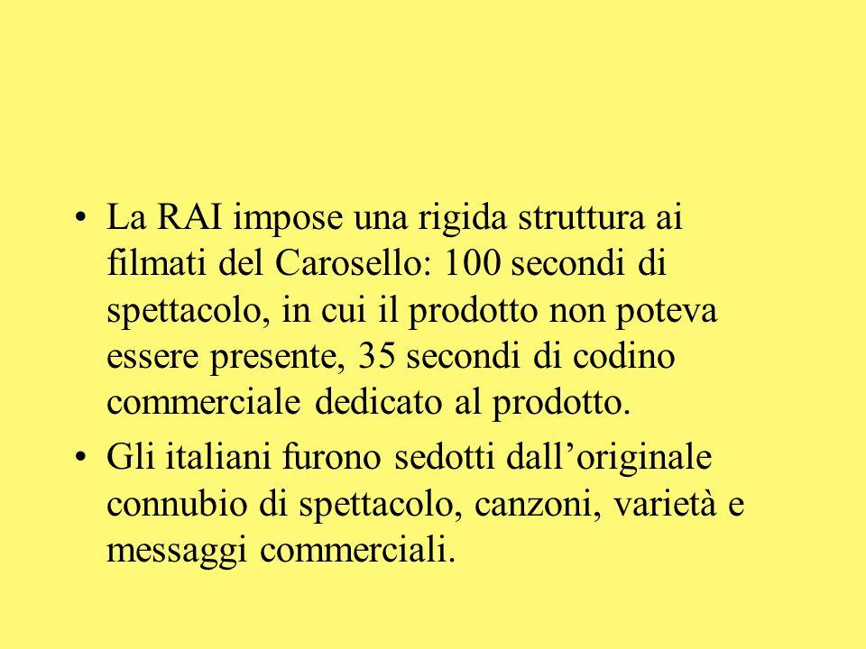 La RAI impose una rigida struttura ai filmati del Carosello: 100 secondi di spettacolo, in cui il prodotto non poteva essere presente, 35 secondi di codino commerciale dedicato al prodotto.