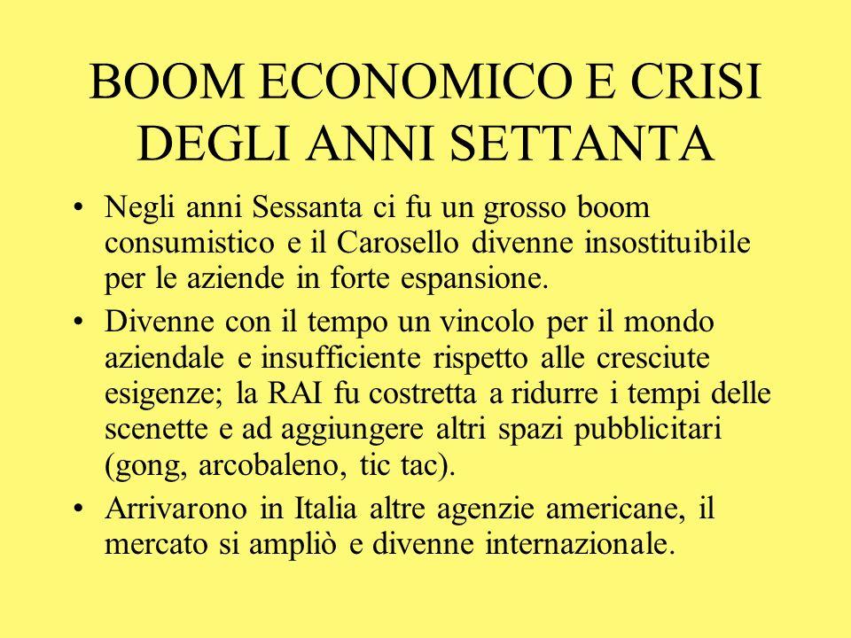 BOOM ECONOMICO E CRISI DEGLI ANNI SETTANTA