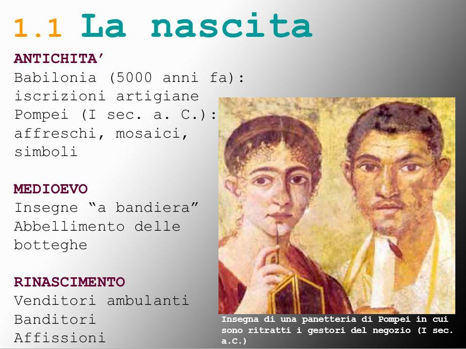 1.1 La nascita ANTICHITA' Babilonia (5000 anni fa): iscrizioni artigiane. Pompei (I sec. a. C.): affreschi, mosaici, simboli.