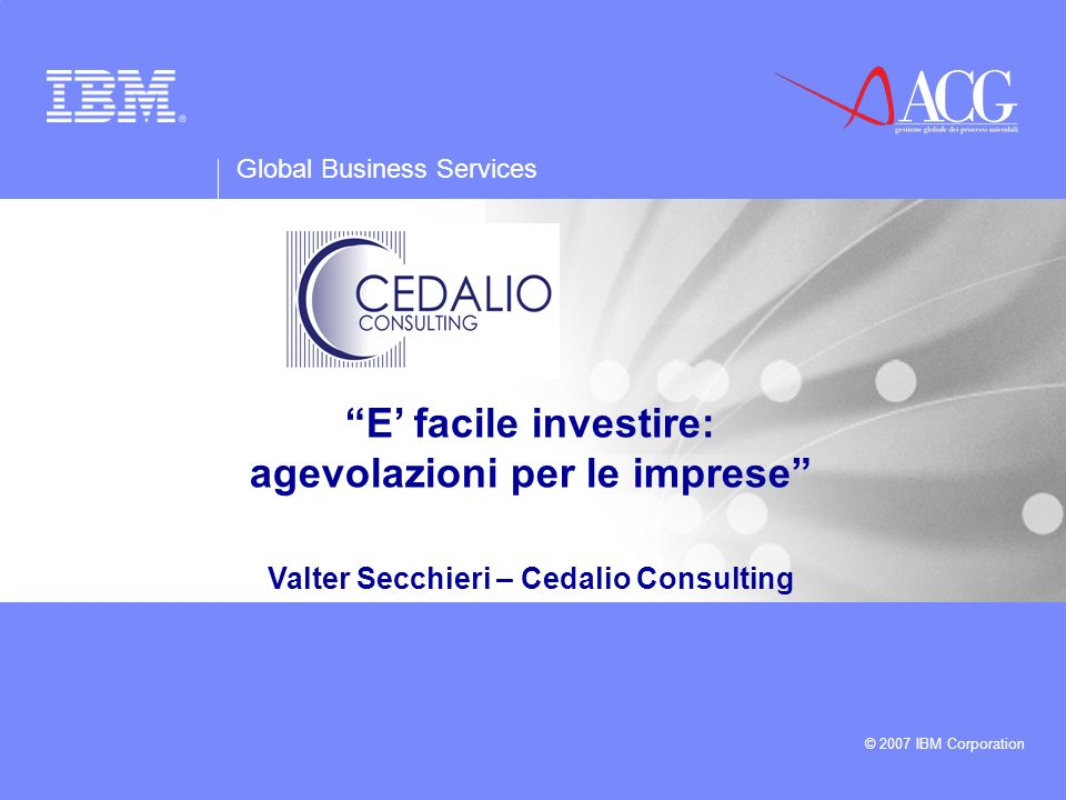 agevolazioni per le imprese Valter Secchieri – Cedalio Consulting