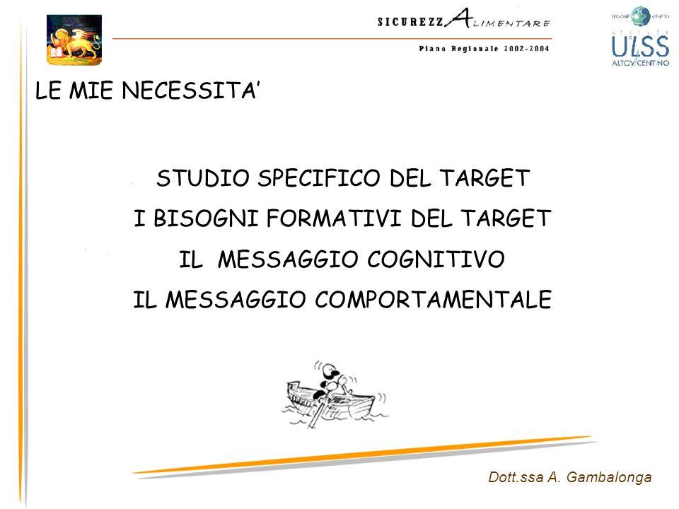 STUDIO SPECIFICO DEL TARGET I BISOGNI FORMATIVI DEL TARGET