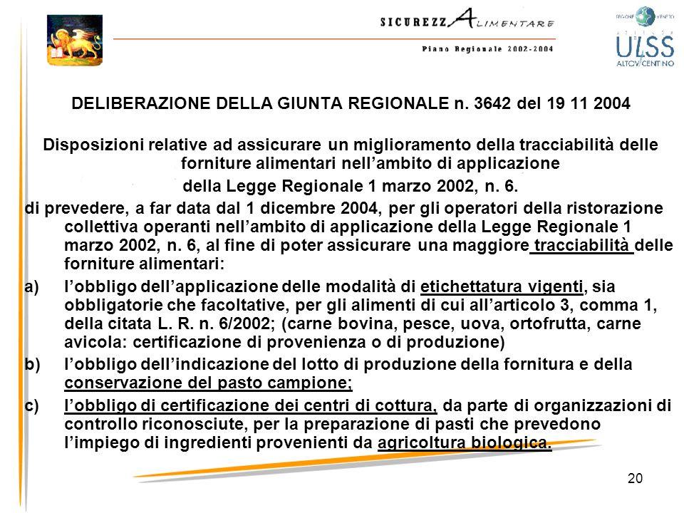 DELIBERAZIONE DELLA GIUNTA REGIONALE n. 3642 del 19 11 2004