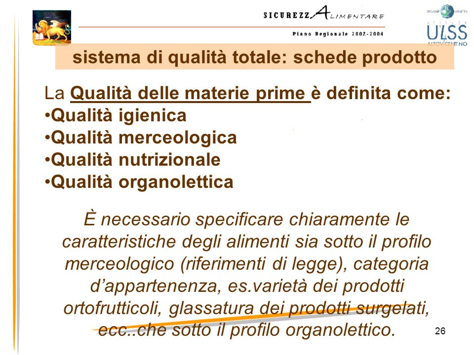 sistema di qualità totale: schede prodotto