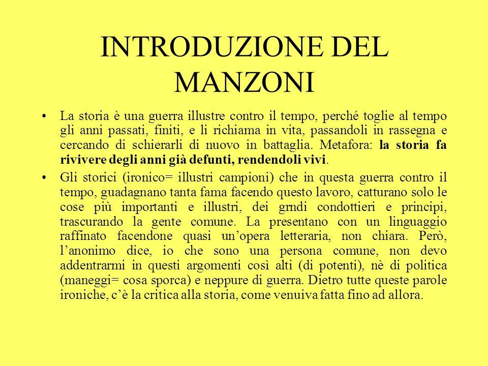 INTRODUZIONE DEL MANZONI