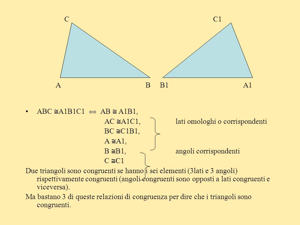 C C1A B B1 A1. ABC A1B1C1  AB  A1B1, AC A1C1, lati omologhi o corrispondenti.