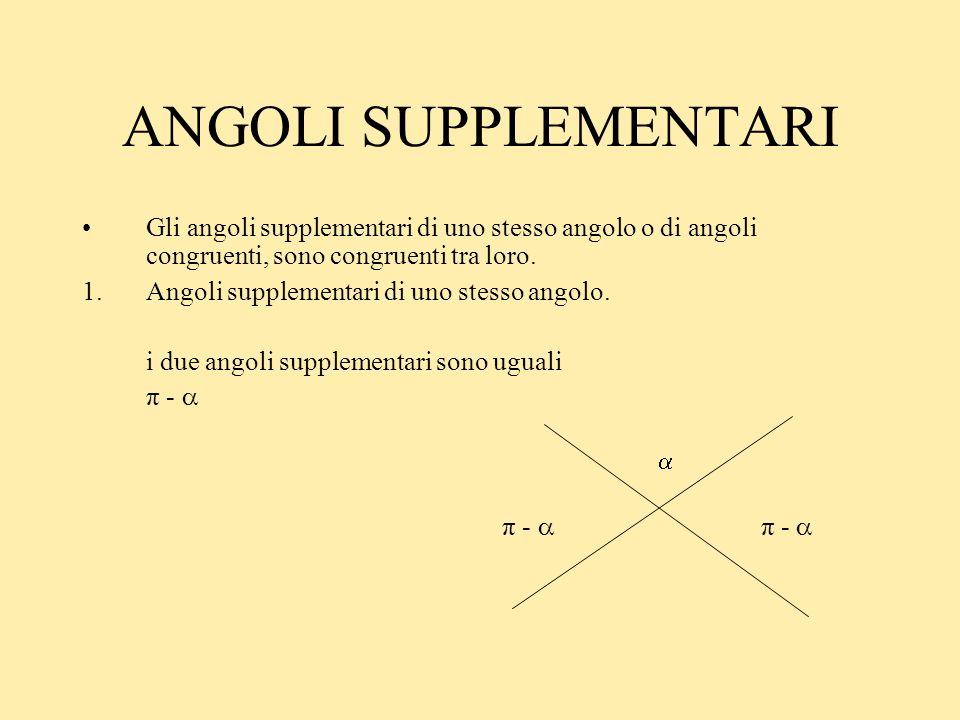 ANGOLI SUPPLEMENTARIGli angoli supplementari di uno stesso angolo o di angoli congruenti, sono congruenti tra loro.