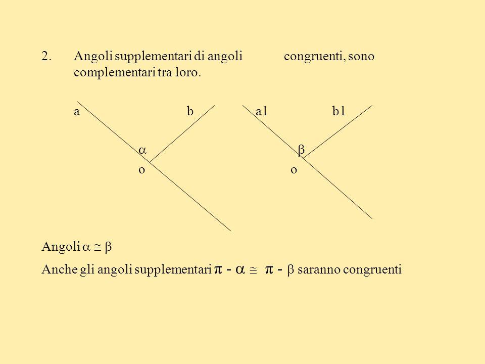 Angoli supplementari di angoli congruenti, sono complementari tra loro.