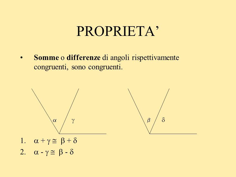 PROPRIETA' Somme o differenze di angoli rispettivamente congruenti, sono congruenti.    