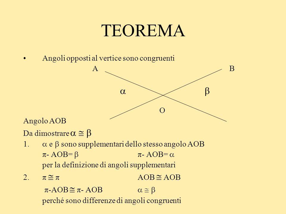 TEOREMA Angoli opposti al vertice sono congruenti A B   O Angolo AOB