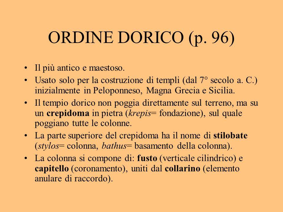 ORDINE DORICO (p. 96) Il più antico e maestoso.