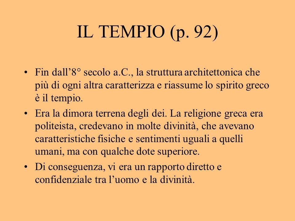 IL TEMPIO (p. 92) Fin dall'8° secolo a.C., la struttura architettonica che più di ogni altra caratterizza e riassume lo spirito greco è il tempio.