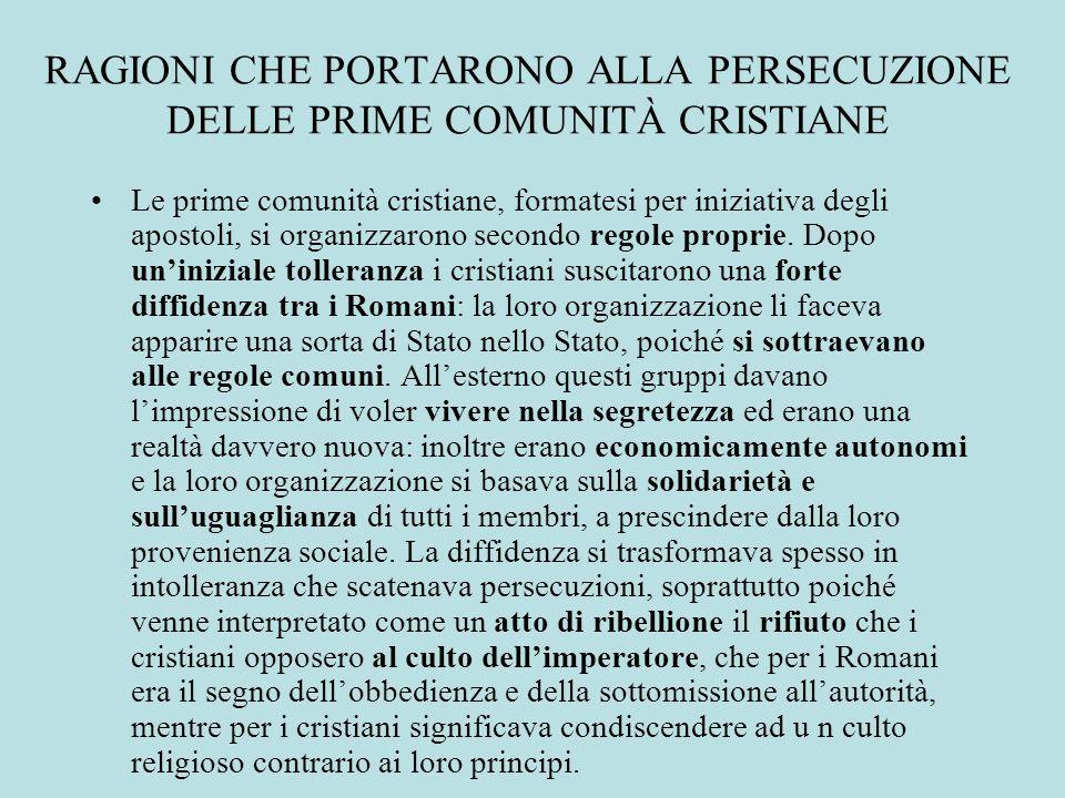 RAGIONI CHE PORTARONO ALLA PERSECUZIONE DELLE PRIME COMUNITÀ CRISTIANE