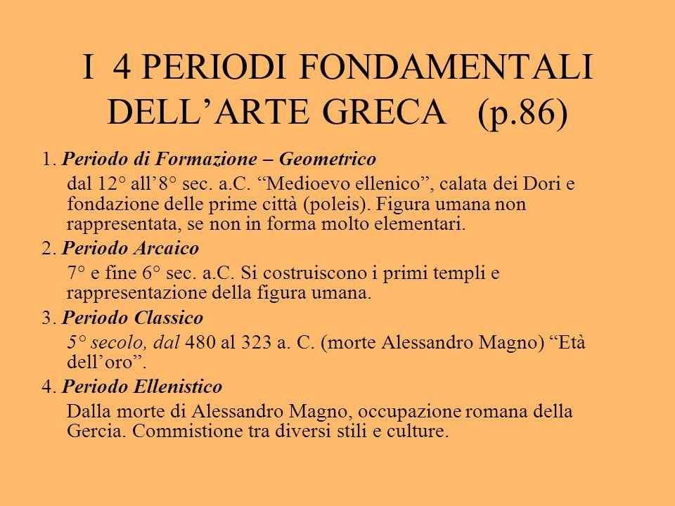 I 4 PERIODI FONDAMENTALI DELL'ARTE GRECA (p.86)