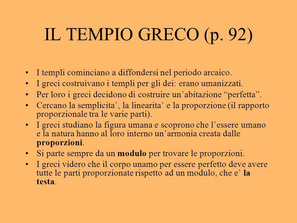 IL TEMPIO GRECO (p. 92) I templi cominciano a diffondersi nel periodo arcaico. I greci costruivano i templi per gli dei: erano umanizzati.