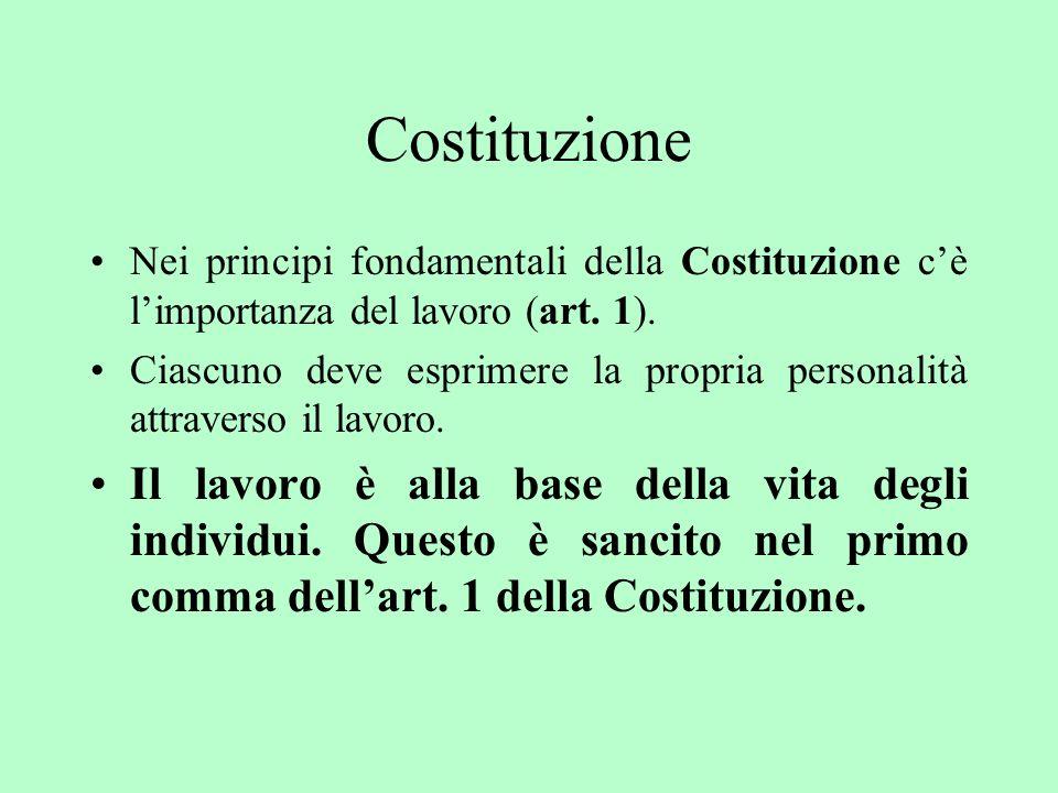 Costituzione Nei principi fondamentali della Costituzione c'è l'importanza del lavoro (art. 1).