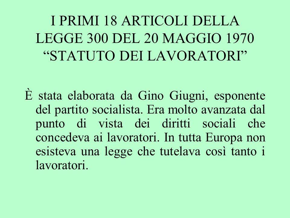 I PRIMI 18 ARTICOLI DELLA LEGGE 300 DEL 20 MAGGIO 1970 STATUTO DEI LAVORATORI