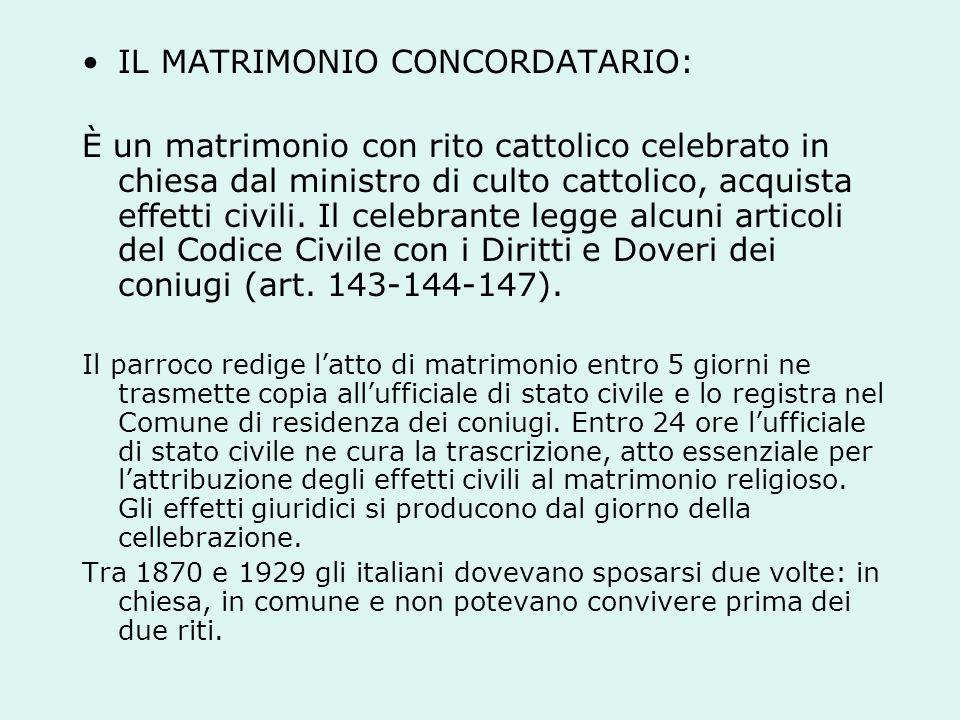 IL MATRIMONIO CONCORDATARIO: