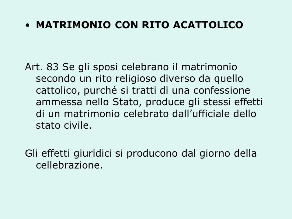 MATRIMONIO CON RITO ACATTOLICO