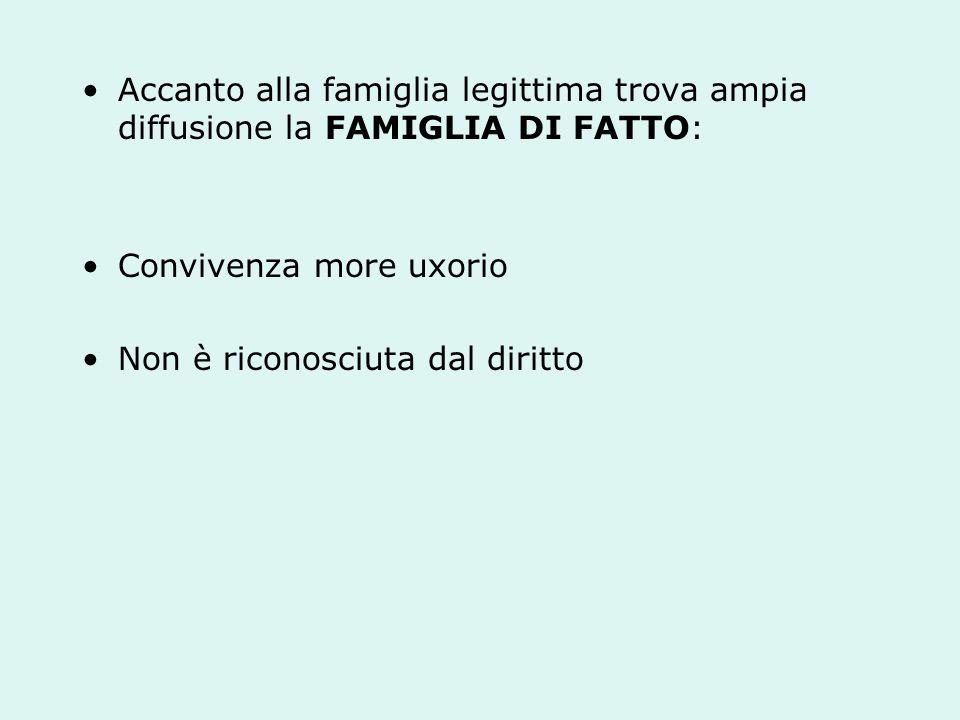 Accanto alla famiglia legittima trova ampia diffusione la FAMIGLIA DI FATTO: