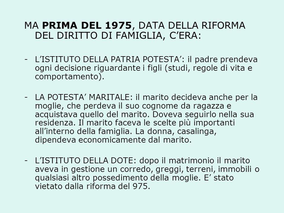 MA PRIMA DEL 1975, DATA DELLA RIFORMA DEL DIRITTO DI FAMIGLIA, C'ERA:
