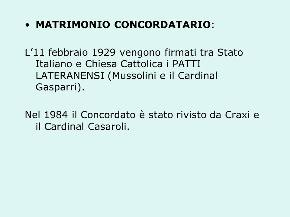 MATRIMONIO CONCORDATARIO: