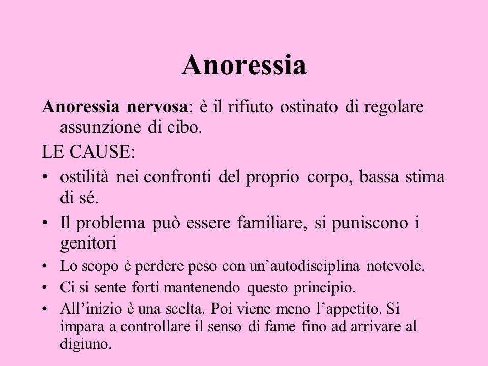 AnoressiaAnoressia nervosa: è il rifiuto ostinato di regolare assunzione di cibo. LE CAUSE: